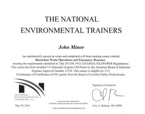National Environmental Trainers Certification