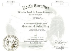 NC General Contracting License