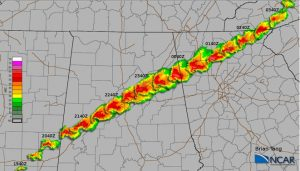 Radar montage of super-cell April 27, 2011