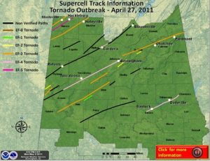 All supercell tracks from the historic outbreak of April 27, 2011