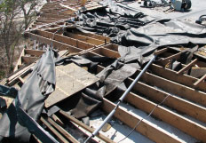 Roof damage from a tornado